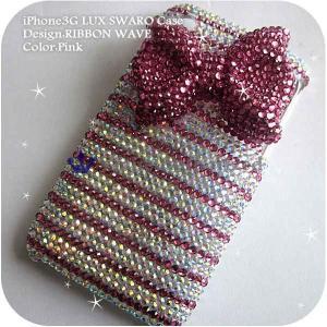 iPhone3G/3GSカバー豪華スワロフスキーゴージャスデコ電 RIBBON WAVE-LUX-3G|venus-hk