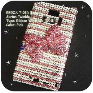 REGZA Phone T-01D/Disney F-08Dケースカバー豪華スワロフスキーゴージャスデコ電 RIBBON WAVE-LUX-T01D|venus-hk