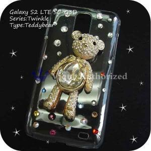 Galaxy S2 LTE SC-03Dケースカバー 豪華スワロフスキーゴージャスデコ電TEDDYBEAR-CTHRU-GX2LTE|venus-hk