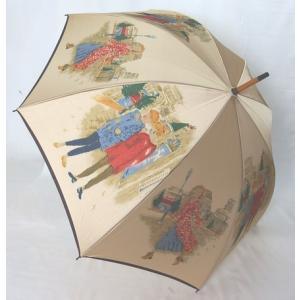 日本製雨傘 長傘 ほぐし織り 街並み柄  ベージュ venusclub