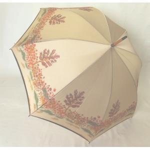 日本製雨傘 長傘 ほぐし織り 花柄  ベージュ venusclub