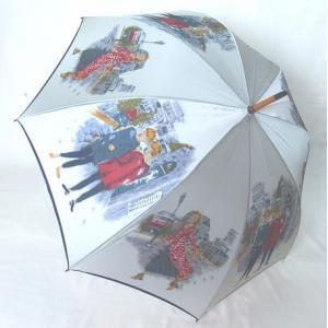 日本製雨傘 長傘 ほぐし織り 街並み柄  グレー venusclub