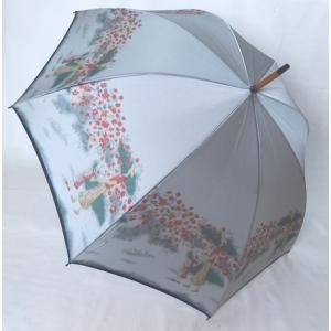 日本製雨傘 長傘 ほぐし織り 花柄  グレー venusclub