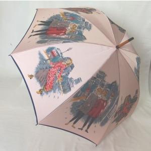 日本製雨傘 長傘 ほぐし織り 街並み柄  ピンク venusclub