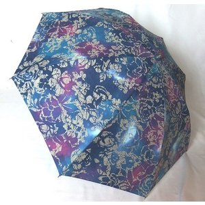 日本製晴雨兼用傘 折りたたみ傘 晴雨兼用 UVケア加工 綿柿渋染め ブルー venusclub