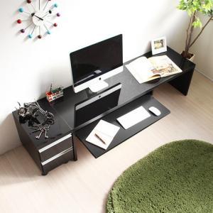 鏡面仕上パソコンデスク ロータイプ150cm幅2点セット(デスクとチェスト) ブラック 日本製|venusclub