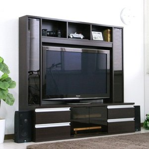 テレビ台 ハイタイプリビング壁面収納 50インチ対応 TV台 ゲート型AVボード 150cm幅 ダークブラウン|venusclub