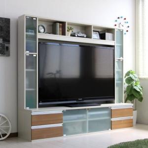 壁面家具 リビング壁面収納 60インチ対応 TV台 ゲート型AVボード 180cm幅 ホワイト|venusclub