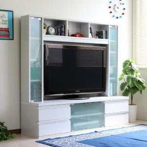 ハイタイプ 鏡面 リビング壁面収納 50インチ対応 TV台 テレビラック ゲート型AVボード 150cm幅 ホワイト|venusclub