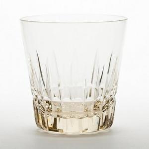 江戸切子: 花切子 剣菱桜文様 オールド 琥珀 ロックグラス  2点セット|venusclub