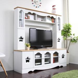 テレビ台 テレビボードハイタイプ 150cm幅 型抜きデザイン  ホワイト&ナチュラル|venusclub