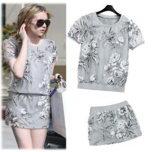 セットアップ 半袖Tシャツ+ミニスカート トロピカル風の花柄 上下2点セット|venusfashion