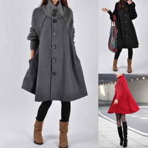 フレアラインが可愛いコート ニットとメルトン生地の切り替え|venusfashion