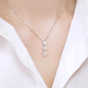 プラチナ ダイヤモンド ネックレス 1カラット ダイヤモンドネックレス スリーストーン ペンダント  鑑別書付 3営業日前後の発送予定|venusjewelry|04