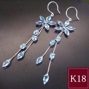 計5カラット ブルートパーズ ピアス K18WG フラワー 花 3営業日前後の発送予定 venusjewelry