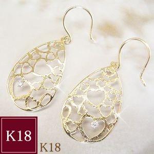 ダイヤモンド ピアス K18 ハート 3営業日前後の発送予定 venusjewelry