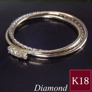3連トリニティ ダイヤモンド リング K18 K18PG K18WG 指輪 3営業日前後の発送予定|venusjewelry