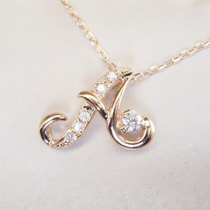 天然 ダイヤモンド ネックレス K18PG イニシャル ネックレス 3営業日前後の発送|venusjewelry|02