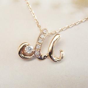 天然 ダイヤモンド ネックレス K18PG イニシャル ネックレス 3営業日前後の発送|venusjewelry|03