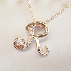 天然 ダイヤモンド ネックレス K18PG イニシャル ネックレス 3営業日前後の発送|venusjewelry|04