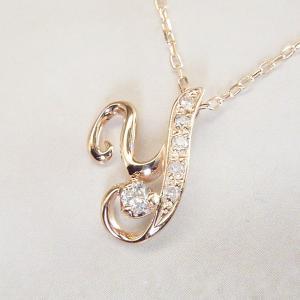 天然 ダイヤモンド ネックレス K18PG イニシャル ネックレス 3営業日前後の発送|venusjewelry|05