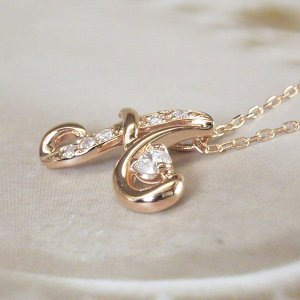 天然 ダイヤモンド ネックレス K18PG イニシャル ネックレス 3営業日前後の発送|venusjewelry|06