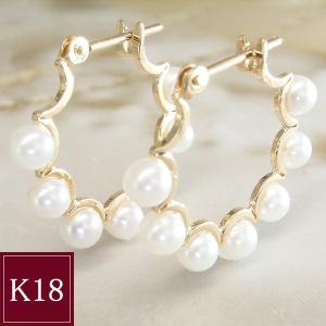 本真珠 ピアス K18 フープ  3営業日前後の発送予定|venusjewelry