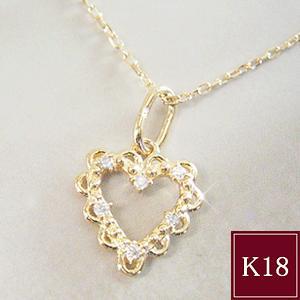 ダイヤモンド ネックレス オープンハート K18  3営業日前後の発送予定|venusjewelry