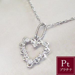 ダイヤモンド ネックレス オープンハート プラチナ 3営業日前後の発送予定|venusjewelry