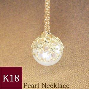 大粒8mm 本真珠 ネックレス K18 3営業日前後の発送予定|venusjewelry