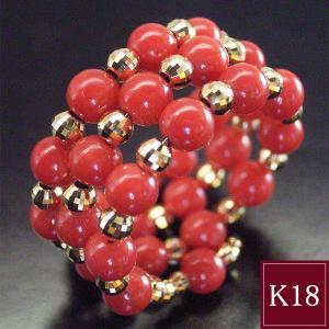 天然珊瑚 K18 リング 指輪 鑑別書付 フリーサイズ 3営業日前後の発送予定|venusjewelry