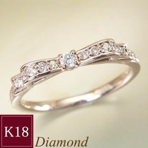 K18PG 天然 ダイヤモンド リング リボン ダイヤモンドリング 指輪 3営業日前後の発送予定|venusjewelry