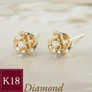 K18ゴールド ダイヤモンド ピアス 薔薇 3営業日前後の発送予定|venusjewelry