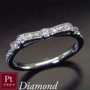 プラチナ 天然 ダイヤモンド リング リボン ダイヤモンドリング 指輪 3営業日前後の発送予定|venusjewelry