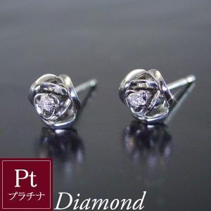 プラチナ 天然 ダイヤモンド ピアス 薔薇 ギフト 3営業日前後の発送予定|venusjewelry