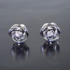 プラチナ 天然 ダイヤモンド ピアス 薔薇 ギフト 3営業日前後の発送予定|venusjewelry|02