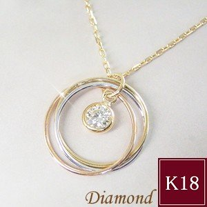 ダイヤモンド ネックレス 3連トリニティ K18WG/K18PG/K18 ネックレス 妻 彼女 3営業日前後の発送予定|venusjewelry