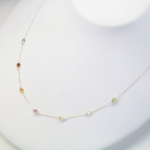 K18 ステーション ネックレス 妻 彼女 7色の天然宝石 アクセサリー 3営業日前後の発送予定 venusjewelry 04