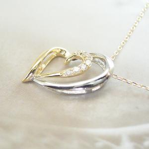 プラチナ 18金 オープンハート ダイヤモンド ネックレス 妻 彼女 3営業日前後の発送予定|venusjewelry|02