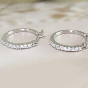 プラチナ ダイヤモンド ピアス エタニティ フープ 3営業日前後の発送|venusjewelry|03
