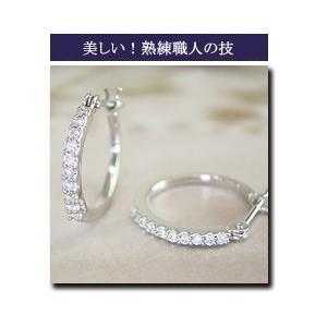 プラチナ ダイヤモンド ピアス エタニティ フープ 3営業日前後の発送|venusjewelry|04