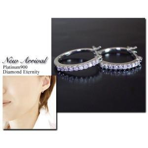 プラチナ ダイヤモンド ピアス エタニティ フープ 3営業日前後の発送|venusjewelry|05