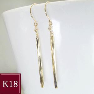 K18ゴールド バーピアス ダイヤモンドピアス 3営業日前後の発送予定|venusjewelry