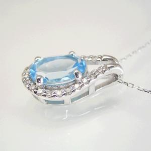 超大粒1.3カラット ブルートパーズ 取り巻きダイヤモンド ネックレス 妻 彼女 K18WG 18金ネックレス 3営業日前後の発送予定|venusjewelry|02
