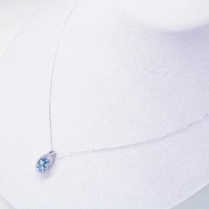 超大粒1.3カラット ブルートパーズ 取り巻きダイヤモンド ネックレス 妻 彼女 K18WG 18金ネックレス 3営業日前後の発送予定|venusjewelry|03
