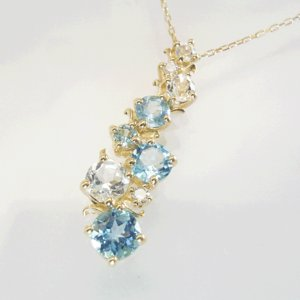 ブルートパーズ ホワイトトパーズ 天然 ダイヤモンド ネックレス K18/K18WG 即納 ※18金は12月19日前後の発送|venusjewelry|03