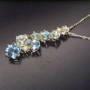 ブルートパーズ ホワイトトパーズ 天然 ダイヤモンド ネックレス K18/K18WG 即納 ※18金は12月19日前後の発送|venusjewelry|04