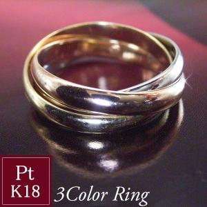 トリニティ リング(Lサイズ) プラチナ900 K18PG K18 指輪 3連リング オーダーメイドのため3週間前後の発送予定|venusjewelry