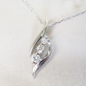 プラチナ ダイヤモンド ネックレス スリーストーン ダイヤモンドネックレス ペンダント 3営業日前後の発送予定|venusjewelry|02