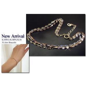 3色・3連トリニティ ブレスレット K18WG/K18PG/K18 プレゼント ジュエリー 2月22日前後の発送予定|venusjewelry|05